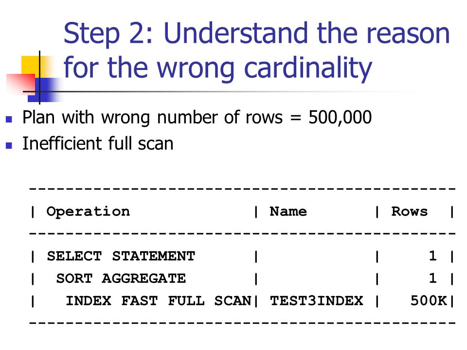 Step 2: Understand the reason for the wrong cardinality Plan with wrong number of rows = 500,000 Inefficient full scan ---------------------------------------------- | Operation | Name | Rows | ---------------------------------------------- | SELECT STATEMENT | | 1 | | SORT AGGREGATE | | 1 | | INDEX FAST FULL SCAN| TEST3INDEX | 500K| ----------------------------------------------