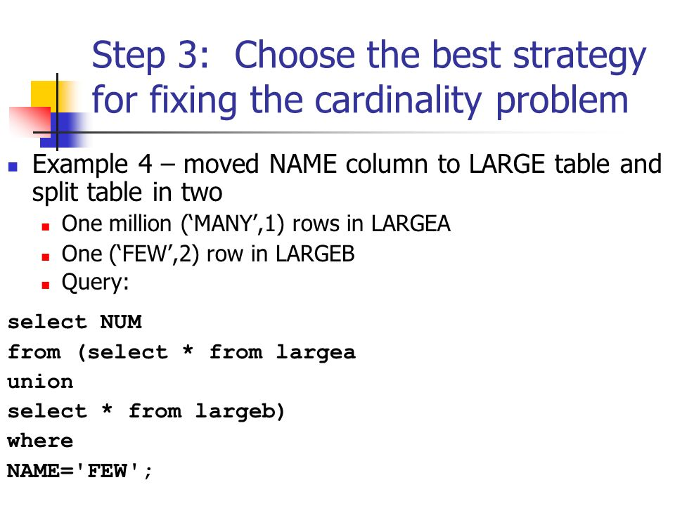 Step 3: Choose the best strategy for fixing the cardinality problem Example 4 – moved NAME column to LARGE table and split table in two One million (MANY,1) rows in LARGEA One (FEW,2) row in LARGEB Query: select NUM from (select * from largea union select * from largeb) where NAME= FEW ;