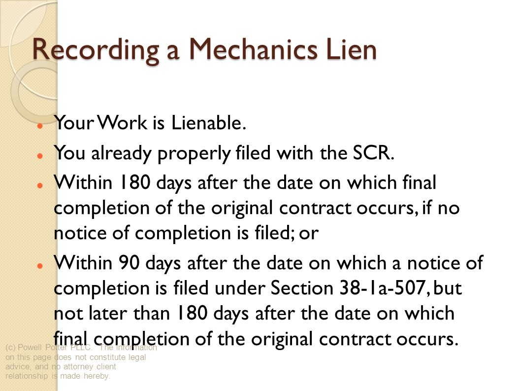 Recording a Mechanics Lien Your Work is Lienable. You already properly filed with the SCR.