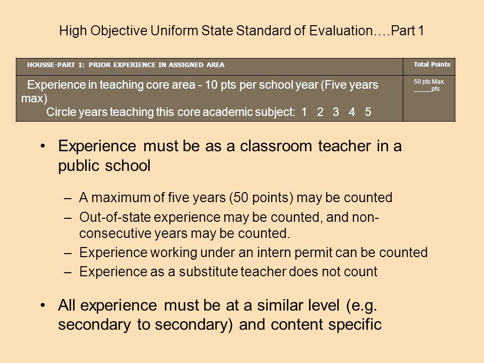 HOUSSE-PART 1: PRIOR EXPERIENCE IN ASSIGNED AREA Total Points Experience in teaching core area - 10 pts per school year (Five years max) Circle years teaching this core academic subject: 1 2 3 4 5 50 pts Max.