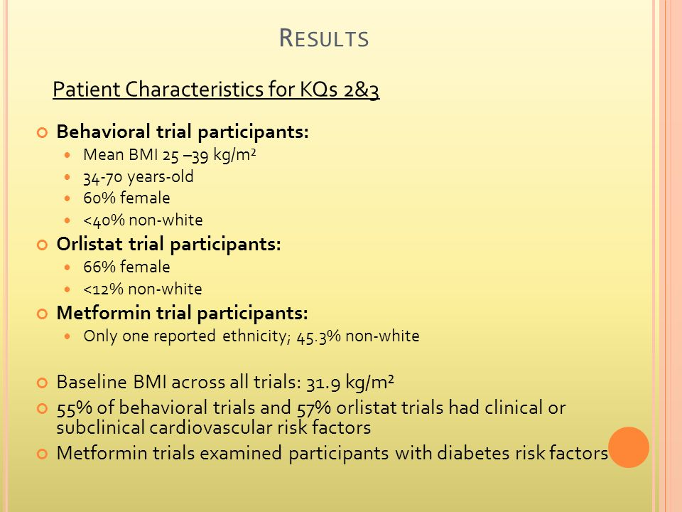 R ESULTS Behavioral trial participants: Mean BMI 25 –39 kg/m² 34-70 years-old 60% female <40% non-white Orlistat trial participants: 66% female <12% non-white Metformin trial participants: Only one reported ethnicity; 45.3% non-white Baseline BMI across all trials: 31.9 kg/m² 55% of behavioral trials and 57% orlistat trials had clinical or subclinical cardiovascular risk factors Metformin trials examined participants with diabetes risk factors Patient Characteristics for KQs 2&3