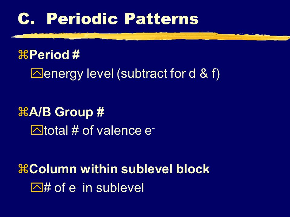 zPeriod # yenergy level (subtract for d & f) zA/B Group # ytotal # of valence e - zColumn within sublevel block y# of e - in sublevel