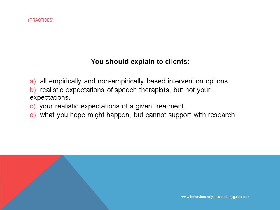 (PRACTICES) You should explain to clients: a) all empirically and non-empirically based intervention options.