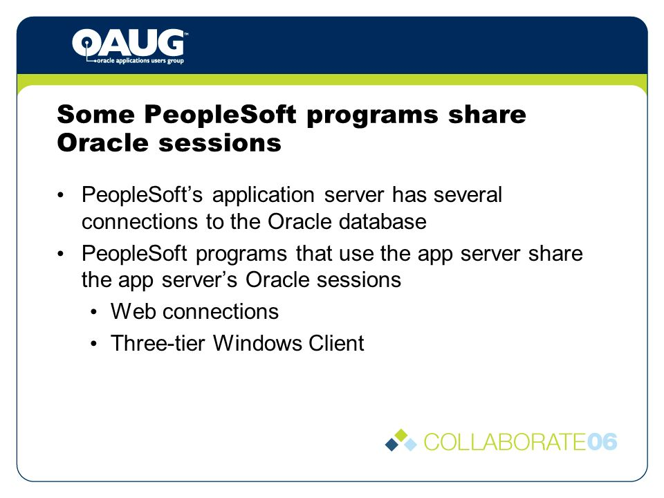 Some PeopleSoft programs share Oracle sessions PeopleSofts application server has several connections to the Oracle database PeopleSoft programs that use the app server share the app servers Oracle sessions Web connections Three-tier Windows Client