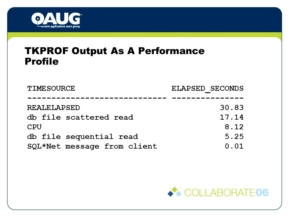 TKPROF Output As A Performance Profile TIMESOURCE ELAPSED_SECONDS REALELAPSED db file scattered read CPU 8.12 db file sequential read 5.25 SQL*Net message from client 0.01