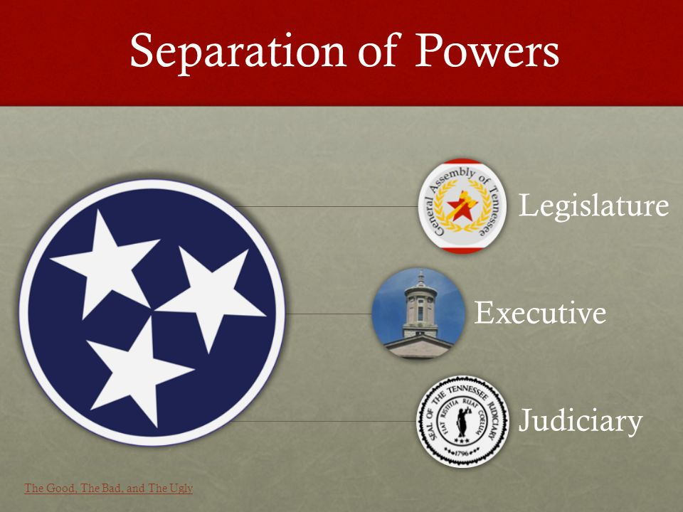Legislature Executive Judiciary Separation of Powers The Good, The Bad, and The Ugly