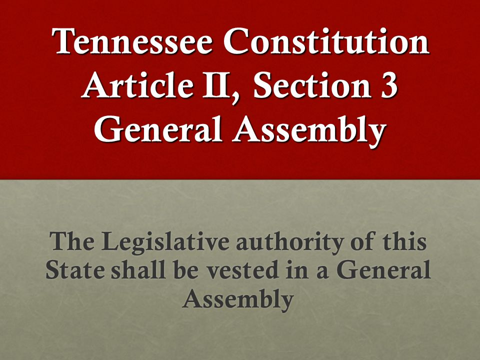 Tennessee Constitution Article II, Section 3 General Assembly The Legislative authority of this State shall be vested in a General Assembly