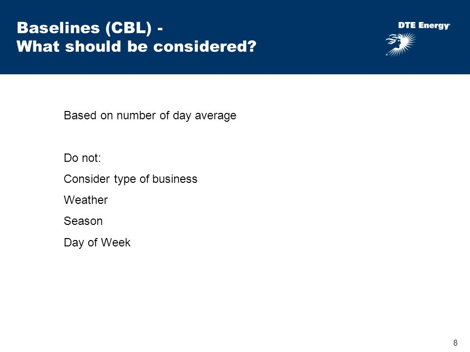 8 Baselines (CBL) - What should be considered.