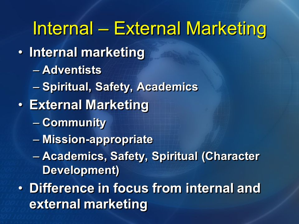 Internal – External Marketing Internal marketing –Adventists –Spiritual, Safety, Academics External Marketing –Community –Mission-appropriate –Academics, Safety, Spiritual (Character Development) Difference in focus from internal and external marketing Internal marketing –Adventists –Spiritual, Safety, Academics External Marketing –Community –Mission-appropriate –Academics, Safety, Spiritual (Character Development) Difference in focus from internal and external marketing