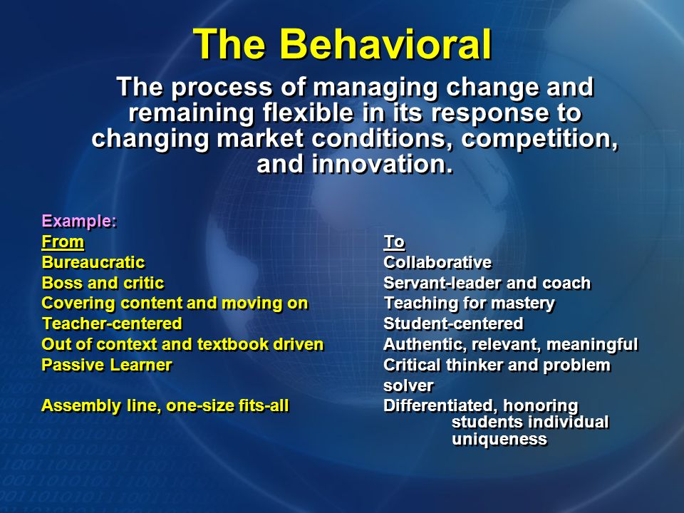 The Behavioral The process of managing change and remaining flexible in its response to changing market conditions, competition, and innovation.