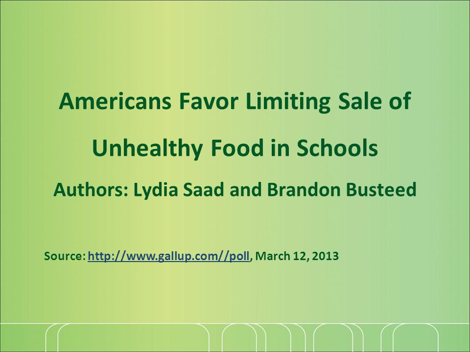 Americans Favor Limiting Sale of Unhealthy Food in Schools Authors: Lydia Saad and Brandon Busteed Source: http://www.gallup.com//poll, March 12, 2013http://www.gallup.com//poll