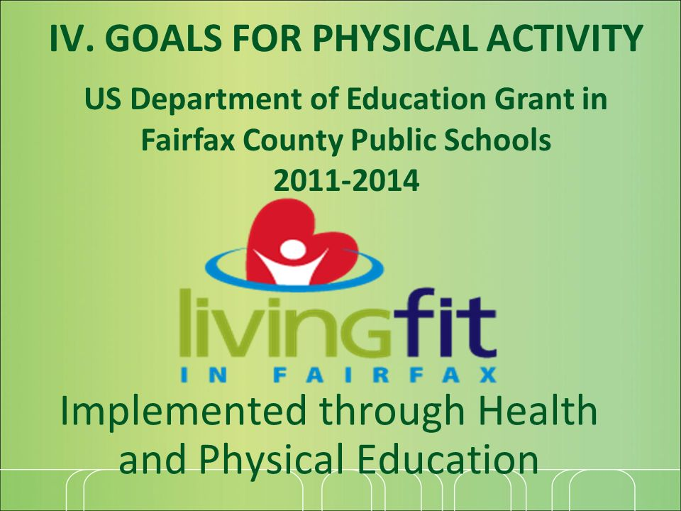 Implemented through Health and Physical Education US Department of Education Grant in Fairfax County Public Schools 2011-2014 IV.