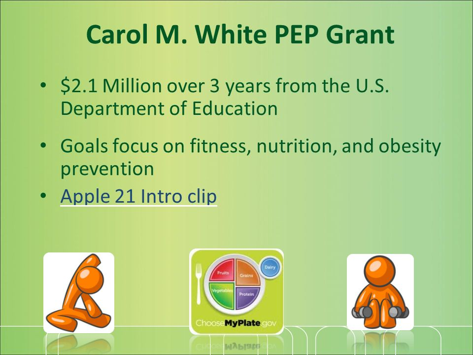 Carol M. White PEP Grant $2.1 Million over 3 years from the U.S.