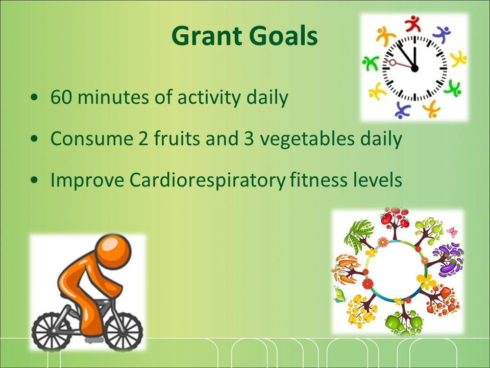 Grant Goals 60 minutes of activity daily Consume 2 fruits and 3 vegetables daily Improve Cardiorespiratory fitness levels