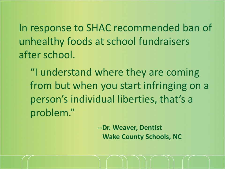In response to SHAC recommended ban of unhealthy foods at school fundraisers after school.