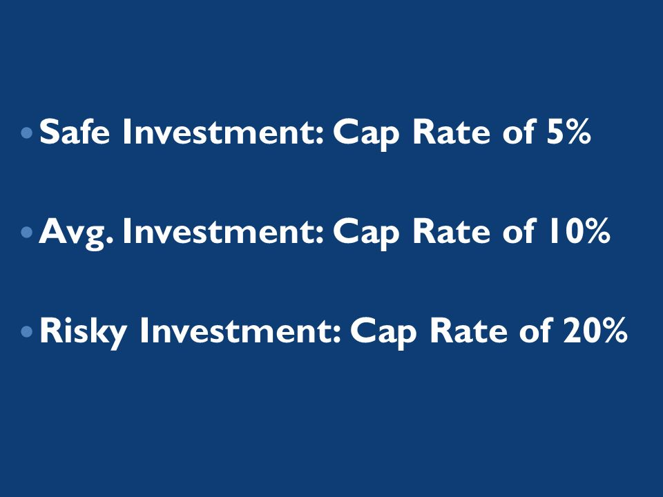 Safe Investment: Cap Rate of 5% Avg. Investment: Cap Rate of 10% Risky Investment: Cap Rate of 20%