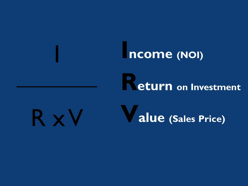 I R x V I ncome (NOI) R eturn on Investment V alue (Sales Price)