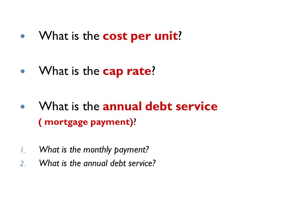 What is the cost per unit. What is the cap rate.