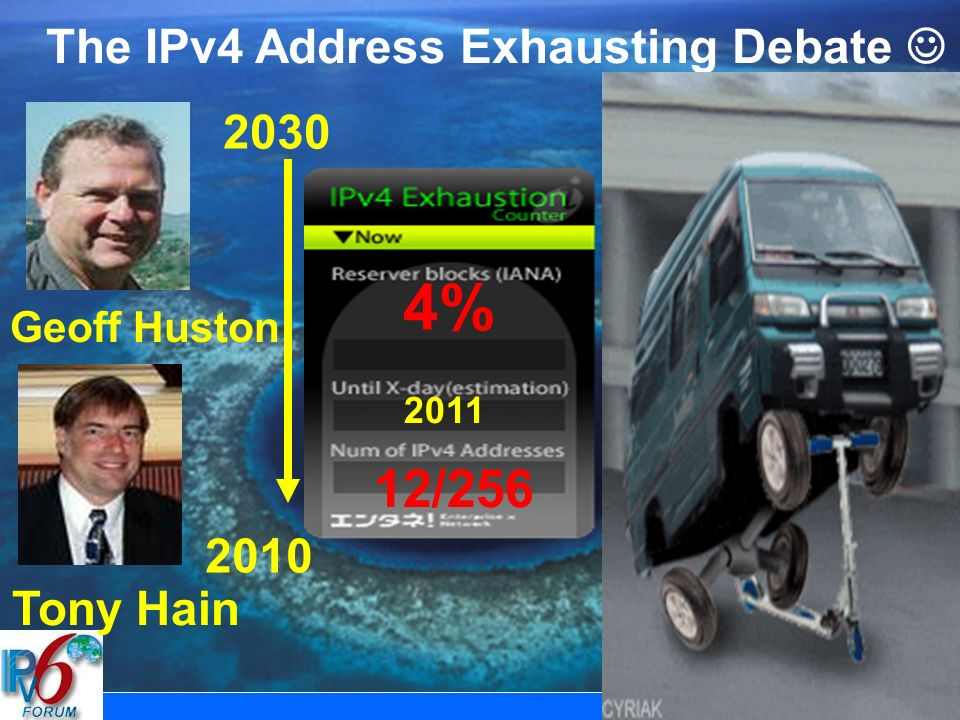 Vision & Way Forward 3 The IPv4 Address Exhausting Debate Tony Hain Geoff Huston 4% /256