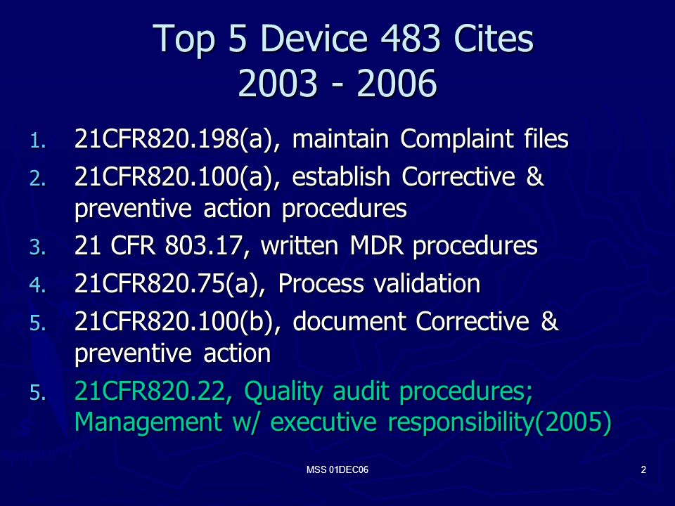 MSS 01DEC062 Top 5 Device 483 Cites Top 5 Device 483 Cites