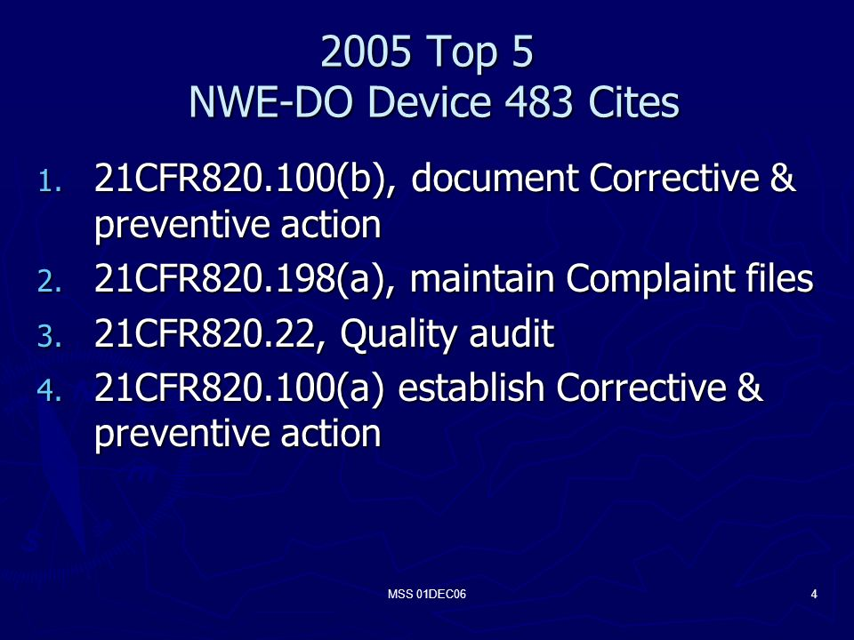 MSS 01DEC Top 5 NWE-DO Device 483 Cites 1.