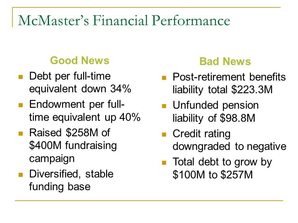 McMasters Financial Performance Good News Debt per full-time equivalent down 34% Endowment per full- time equivalent up 40% Raised $258M of $400M fundraising campaign Diversified, stable funding base Bad News Post-retirement benefits liability total $223.3M Unfunded pension liability of $98.8M Credit rating downgraded to negative Total debt to grow by $100M to $257M