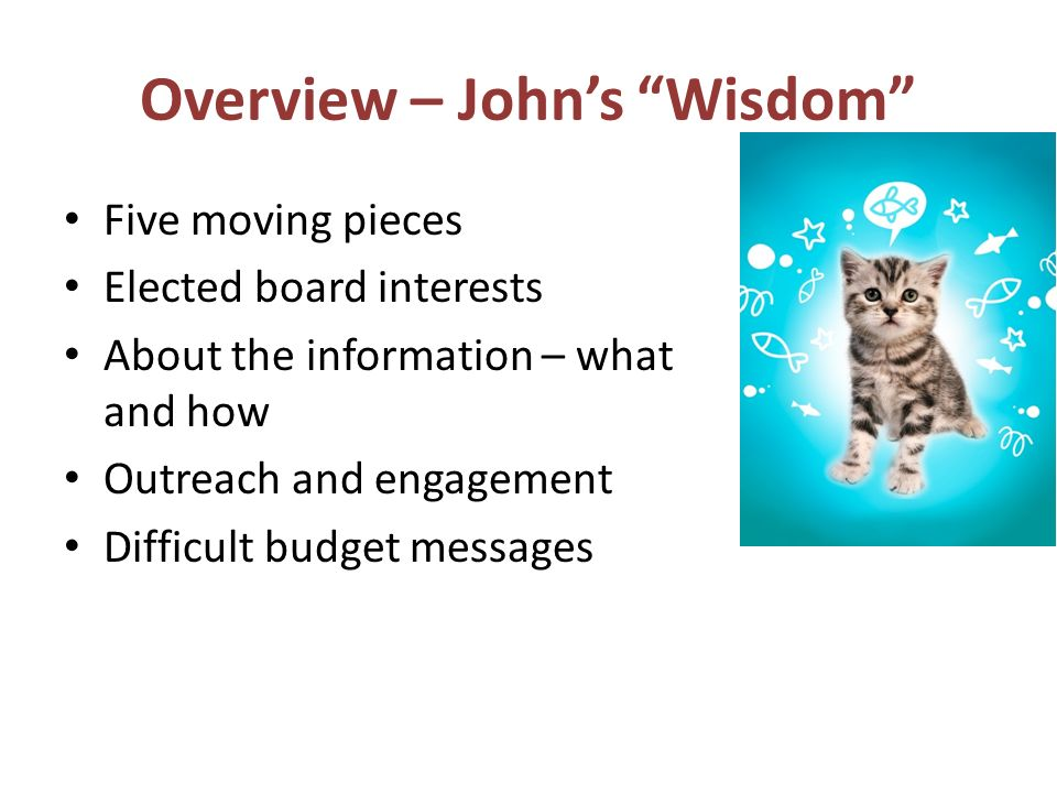 Overview – Johns Wisdom Five moving pieces Elected board interests About the information – what and how Outreach and engagement Difficult budget messages