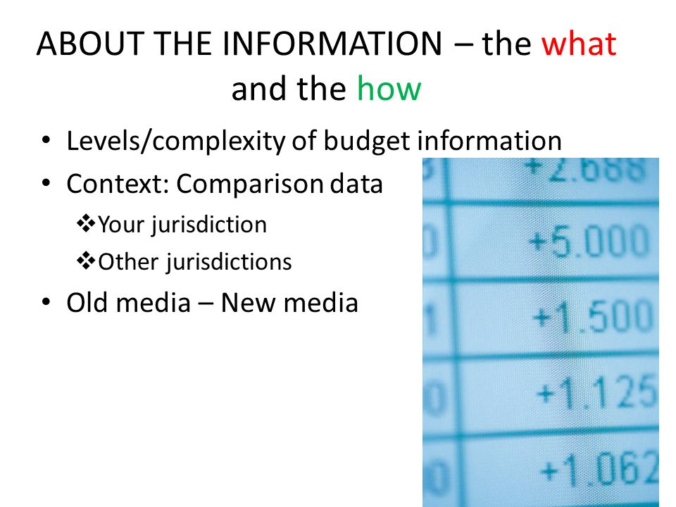 ABOUT THE INFORMATION – the what and the how Levels/complexity of budget information Context: Comparison data Your jurisdiction Other jurisdictions Old media – New media