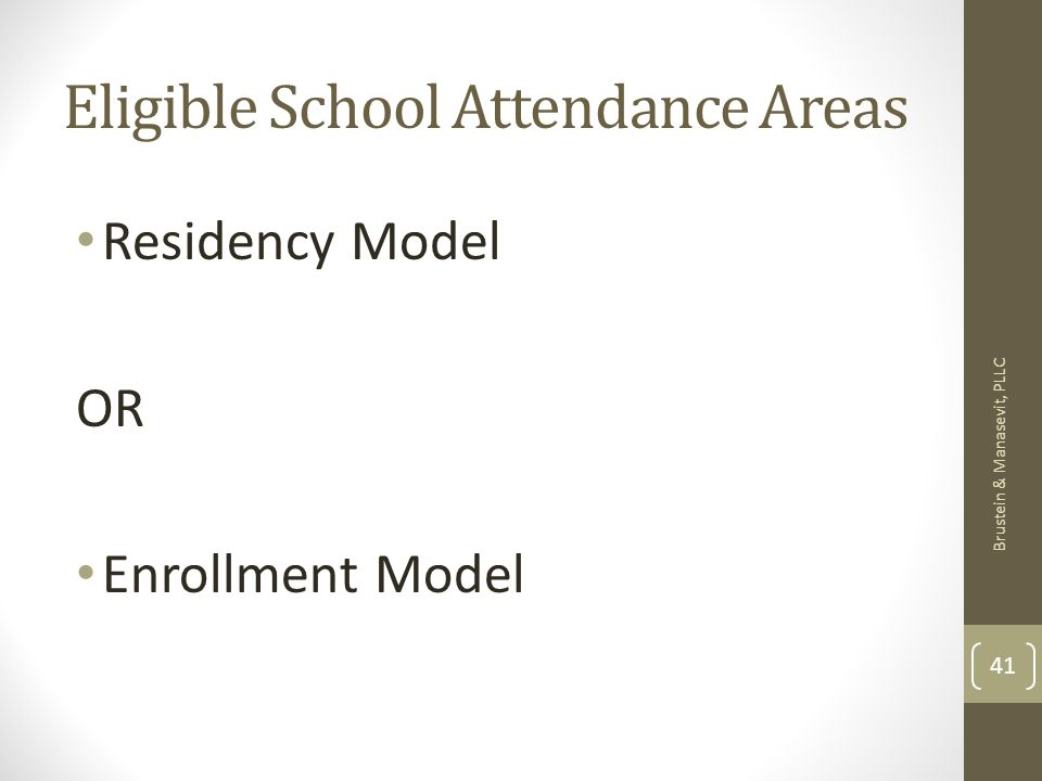 Eligible School Attendance Areas Residency Model OR Enrollment Model Brustein & Manasevit, PLLC 41
