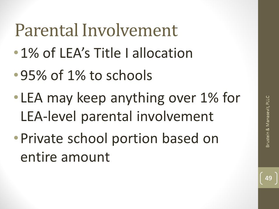 Parental Involvement 1% of LEAs Title I allocation 95% of 1% to schools LEA may keep anything over 1% for LEA-level parental involvement Private school portion based on entire amount Brustein & Manasevit, PLLC 49