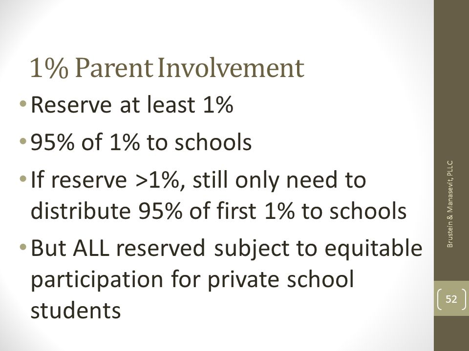1% Parent Involvement Reserve at least 1% 95% of 1% to schools If reserve >1%, still only need to distribute 95% of first 1% to schools But ALL reserved subject to equitable participation for private school students Brustein & Manasevit, PLLC 52