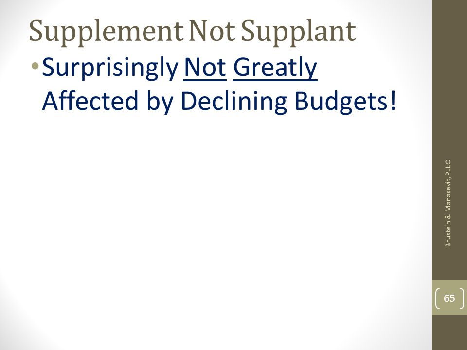 Supplement Not Supplant Surprisingly Not Greatly Affected by Declining Budgets.
