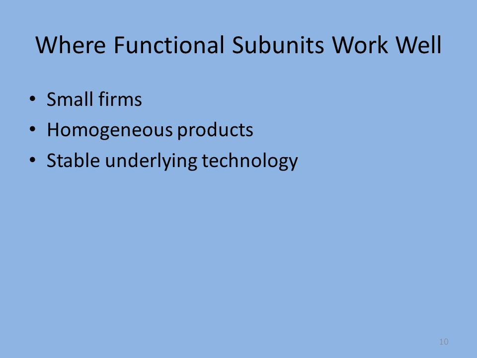Where Functional Subunits Work Well Small firms Homogeneous products Stable underlying technology 10