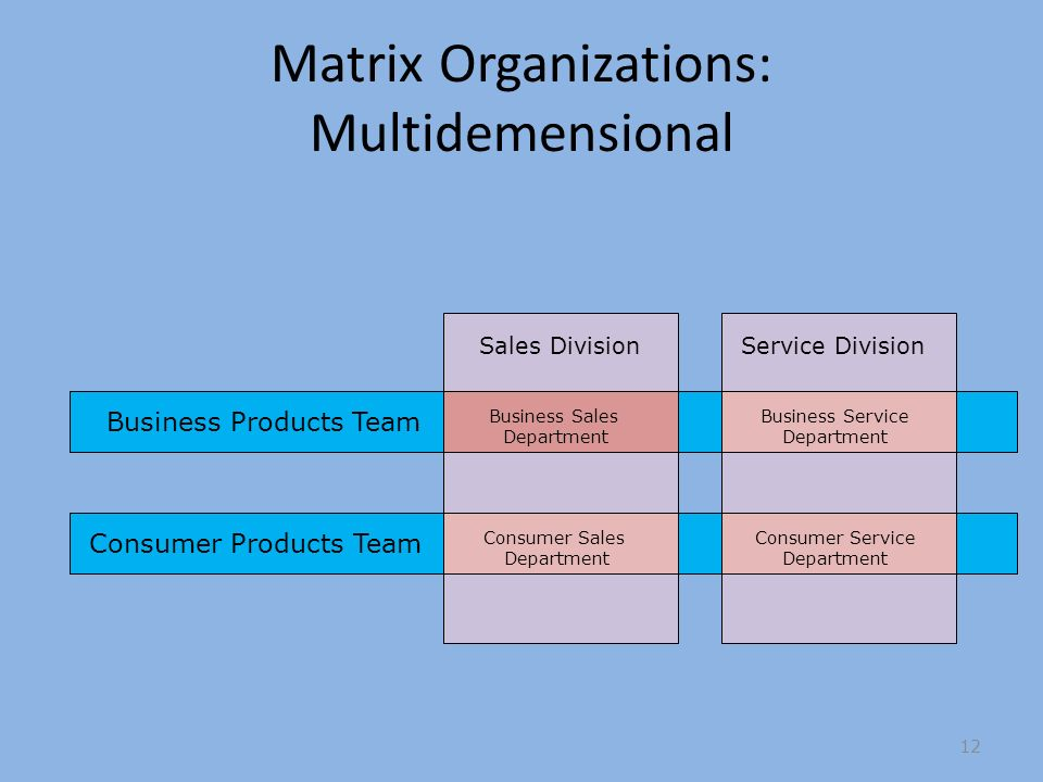 Matrix Organizations: Multidemensional Consumer Products Team Sales Division Business Products Team Service Division Business Sales Department Consumer Sales Department Business Service Department Consumer Service Department 12