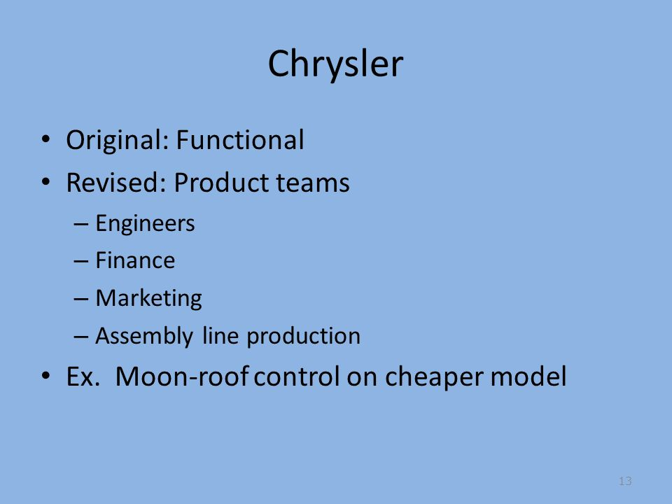 Chrysler Original: Functional Revised: Product teams – Engineers – Finance – Marketing – Assembly line production Ex.