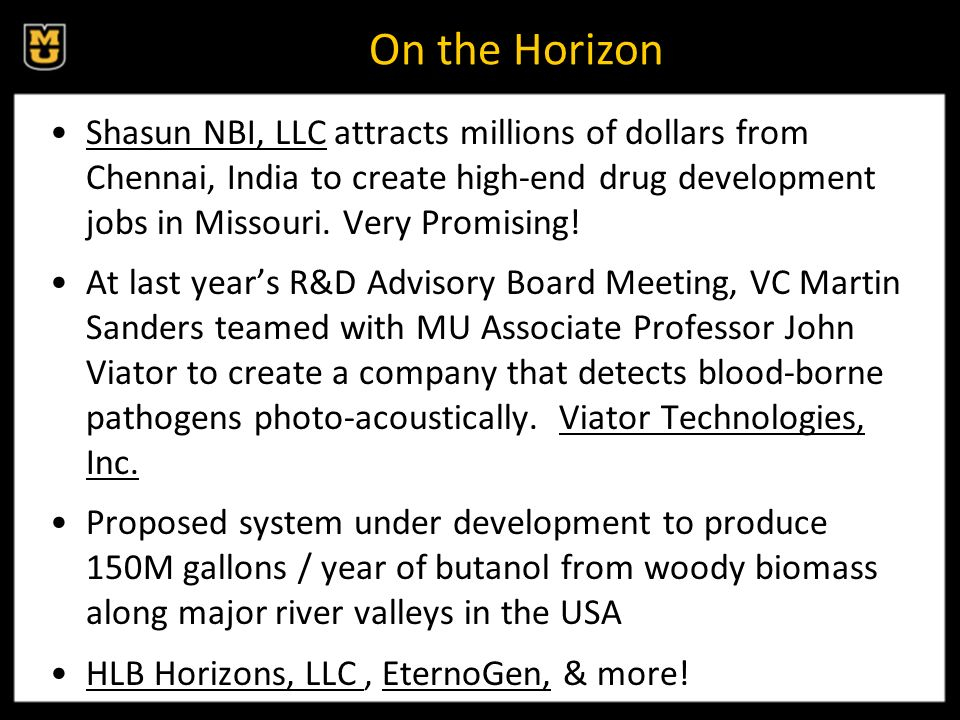 On the Horizon Shasun NBI, LLC attracts millions of dollars from Chennai, India to create high-end drug development jobs in Missouri.