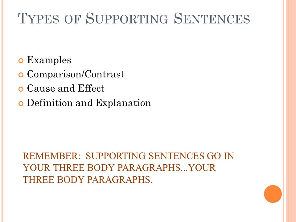 T YPES OF S UPPORTING S ENTENCES Examples Comparison/Contrast Cause and Effect Definition and Explanation REMEMBER: SUPPORTING SENTENCES GO IN YOUR THREE BODY PARAGRAPHS...YOUR THREE BODY PARAGRAPHS.
