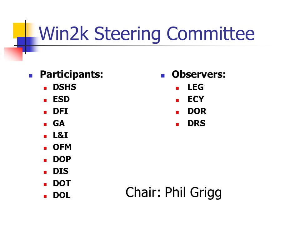Win2k Steering Committee Participants: DSHS ESD DFI GA L&I OFM DOP DIS DOT DOL Observers: LEG ECY DOR DRS Chair: Phil Grigg