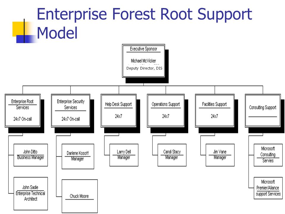 Enterprise Forest Root Support Model Deputy Director, DIS