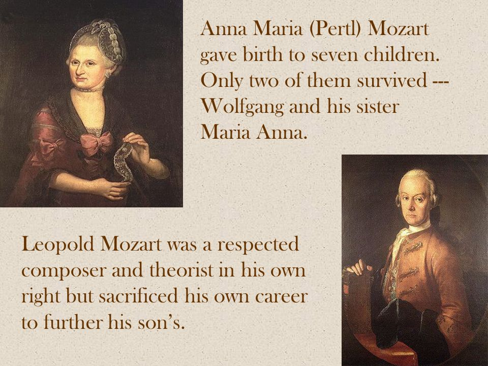 Anna Maria (Pertl) Mozart gave birth to seven children.