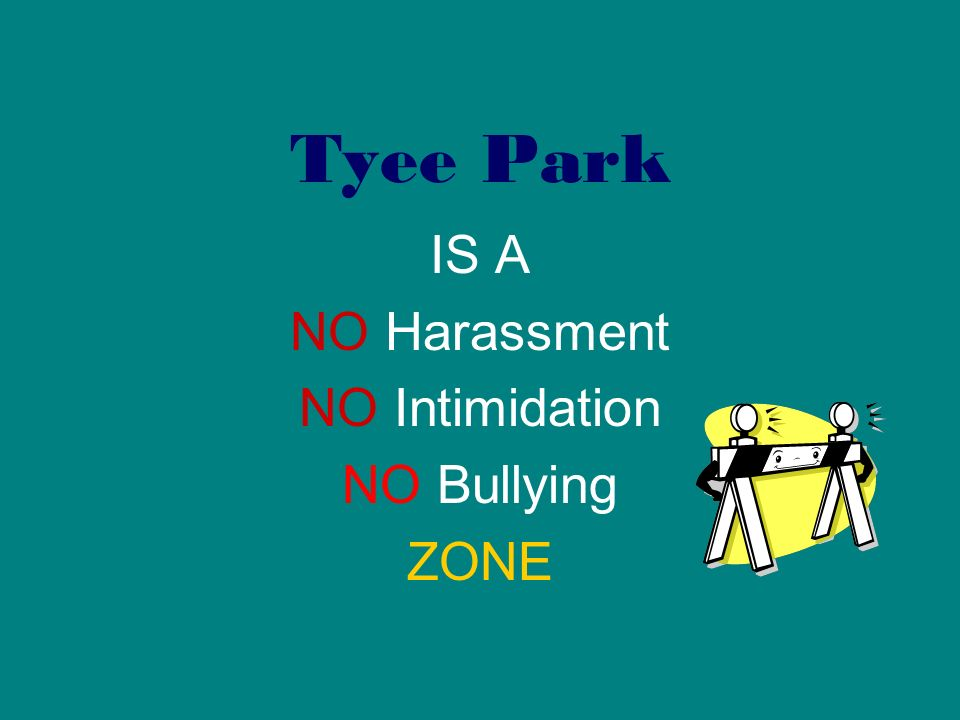 Tyee Park IS A NO Harassment NO Intimidation NO Bullying ZONE