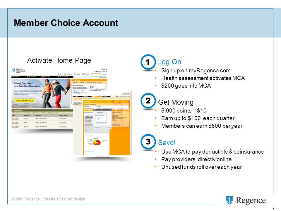 © 2009 Regence. Private and Confidential. 3 Member Choice Account Save.