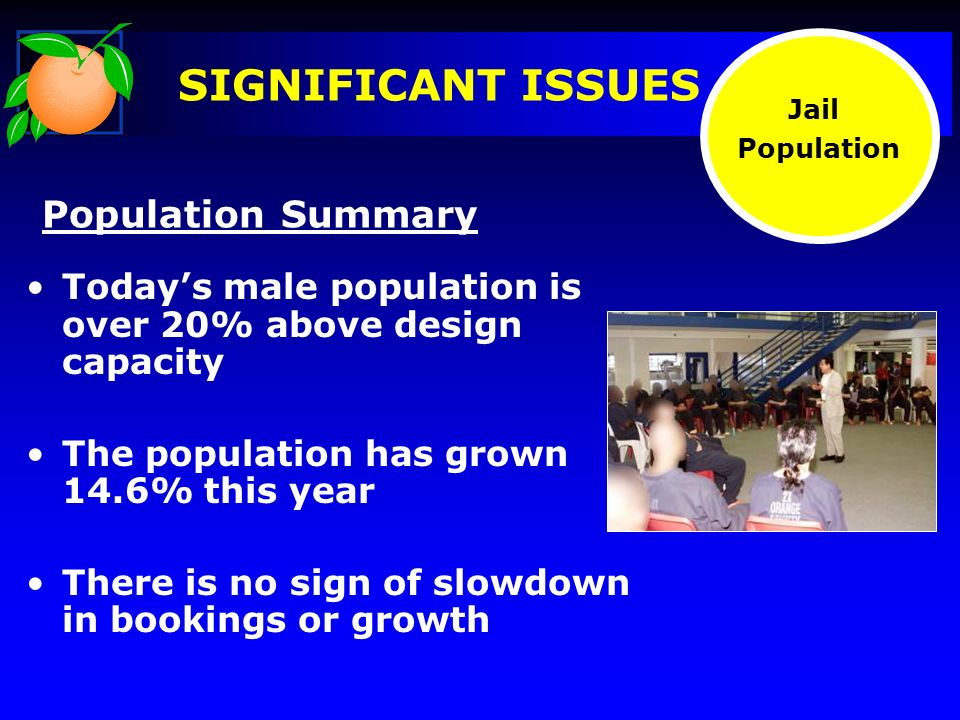 Population Summary Todays male population is over 20% above design capacity The population has grown 14.6% this year There is no sign of slowdown in bookings or growth Jail Population
