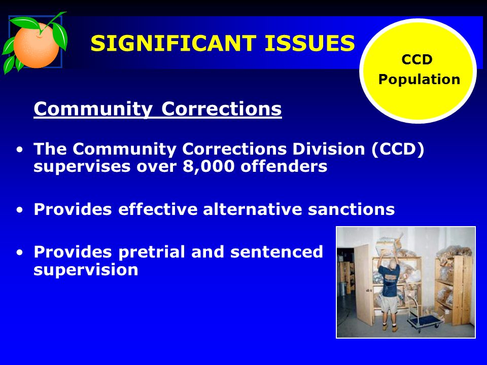 SIGNIFICANT ISSUES The Community Corrections Division (CCD) supervises over 8,000 offenders Provides effective alternative sanctions Provides pretrial and sentenced supervision CCD Population Community Corrections