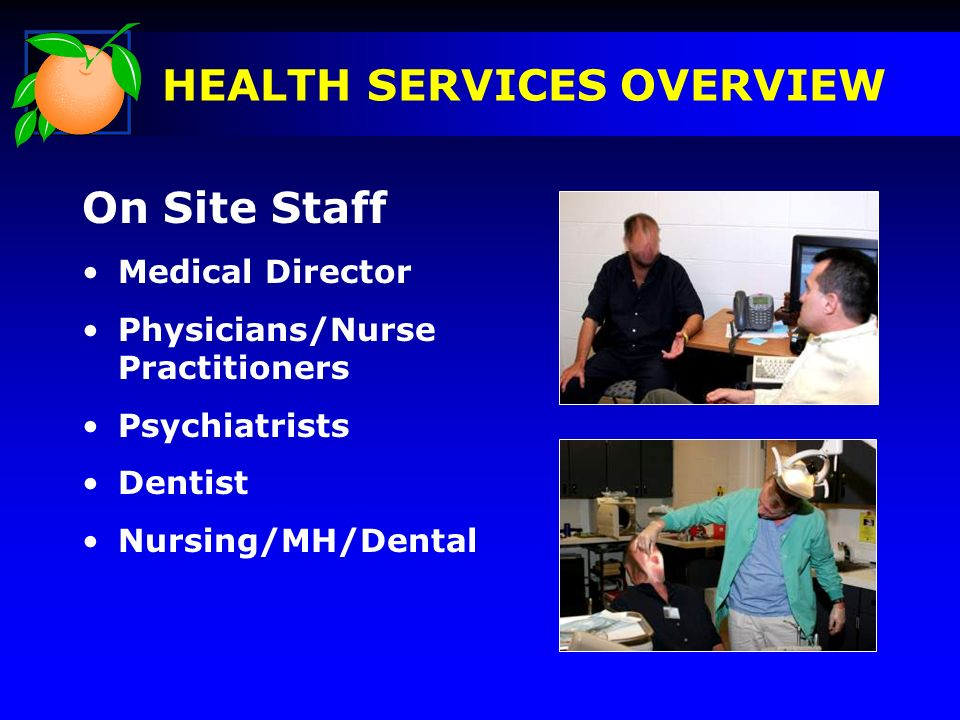 On Site Staff Medical Director Physicians/Nurse Practitioners Psychiatrists Dentist Nursing/MH/Dental HEALTH SERVICES OVERVIEW Pictures