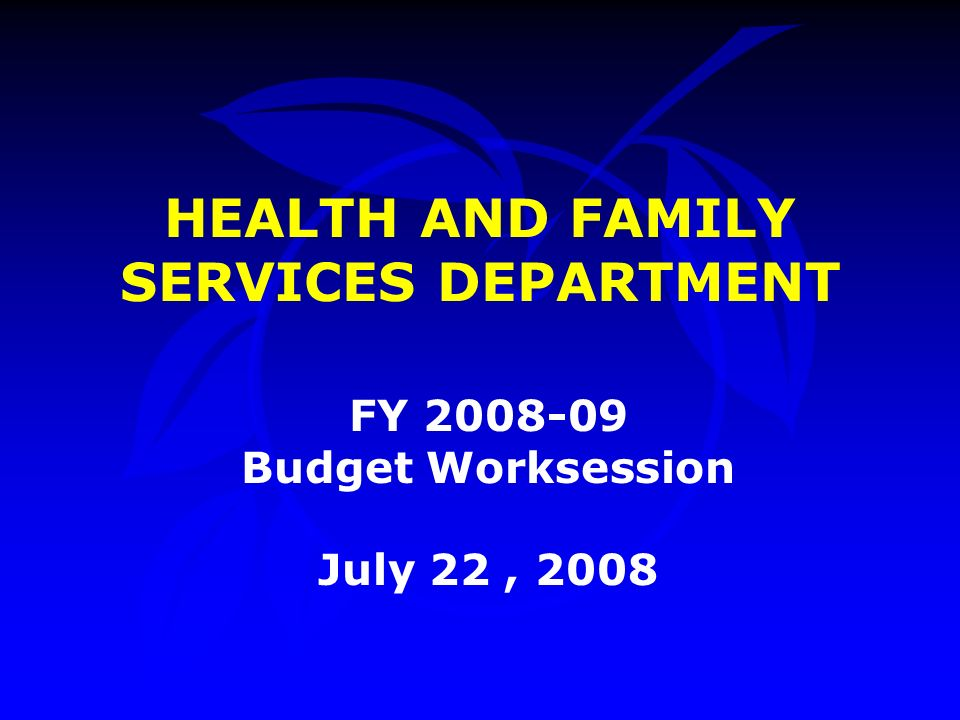 HEALTH AND FAMILY SERVICES DEPARTMENT FY Budget Worksession July 22, 2008