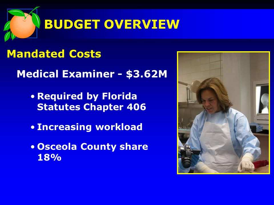 Mandated Costs Medical Examiner - $3.62M Required by Florida Statutes Chapter 406 Increasing workload Osceola County share 18% BUDGET OVERVIEW