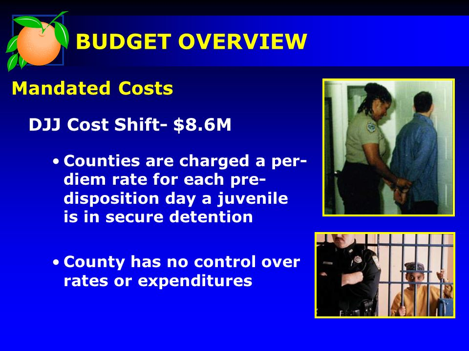 Mandated Costs DJJ Cost Shift- $8.6M Counties are charged a per- diem rate for each pre- disposition day a juvenile is in secure detention County has no control over rates or expenditures BUDGET OVERVIEW
