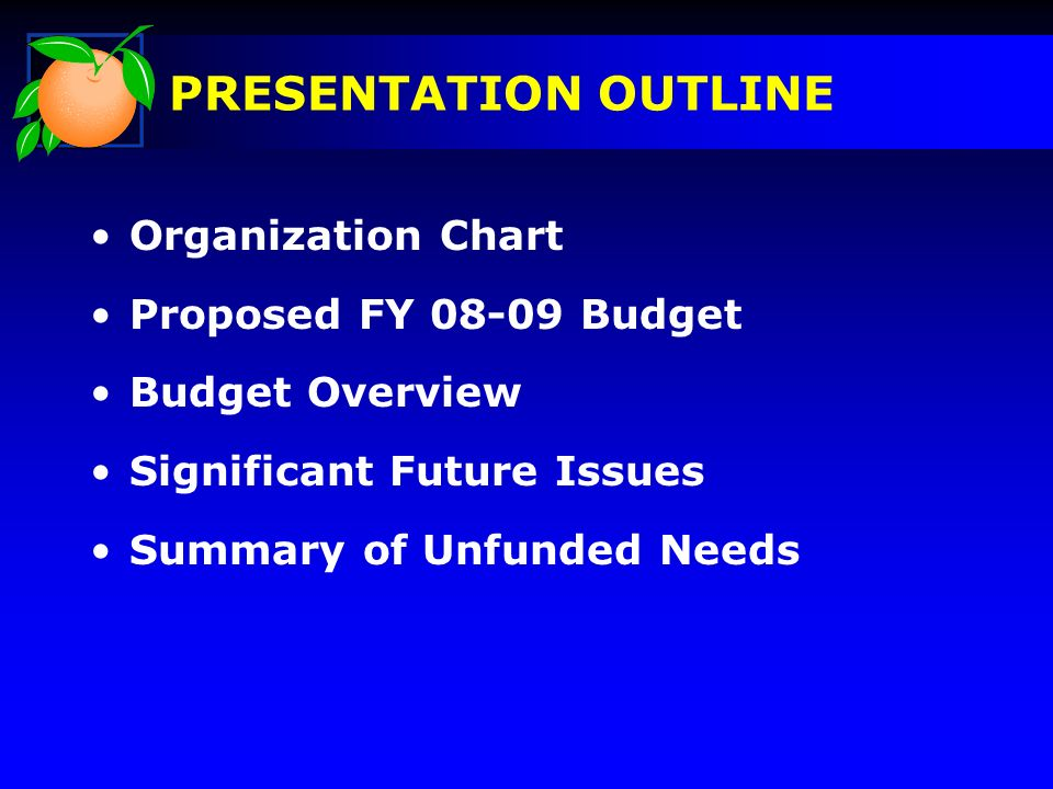 Organization Chart Proposed FY Budget Budget Overview Significant Future Issues Summary of Unfunded Needs PRESENTATION OUTLINE