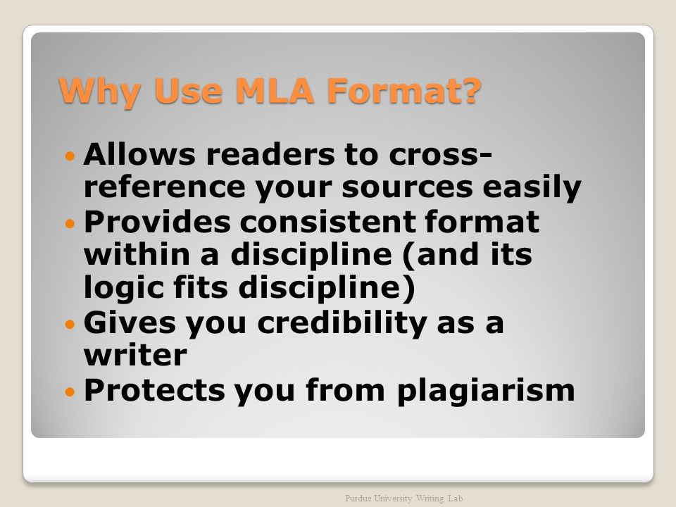 Why Use MLA Format.